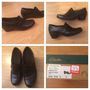 Clarks Black Heel Loafer, 8 1/2